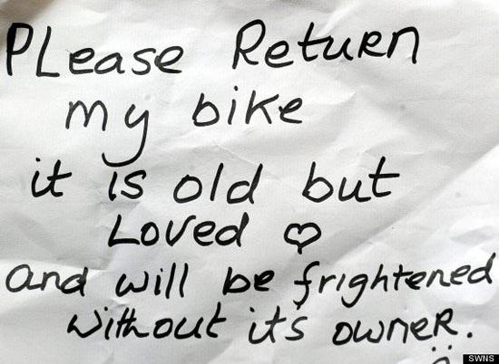 Записка Эллен с просьбой вернуть велосипед