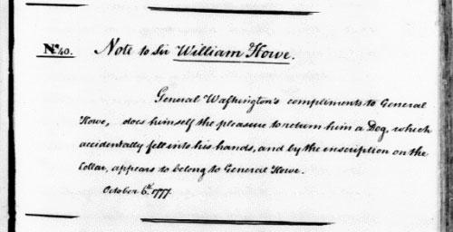 Записка генерала Вашингтона для генерала Хау