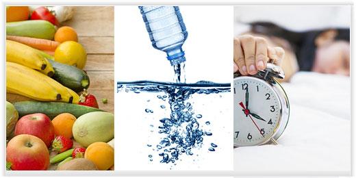 Здоровая диета, вода, сон и физические упражнения